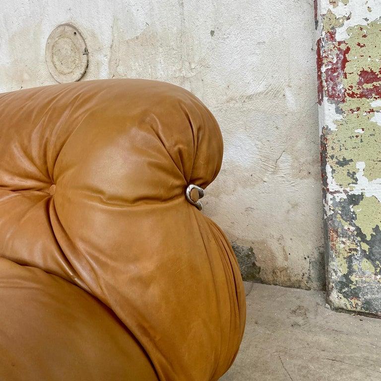 "Leather Afra & Tobia Scarpa ""Soriana"" Sofa for Cassina, 1969 For Sale"