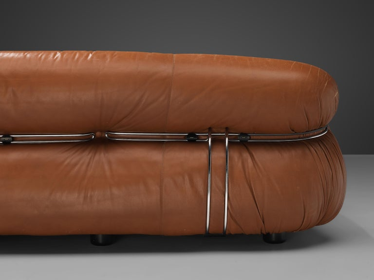 Afra & Tobia Scarpa 'Soriana' Sofa in Patinated Brown Leather For Sale 3