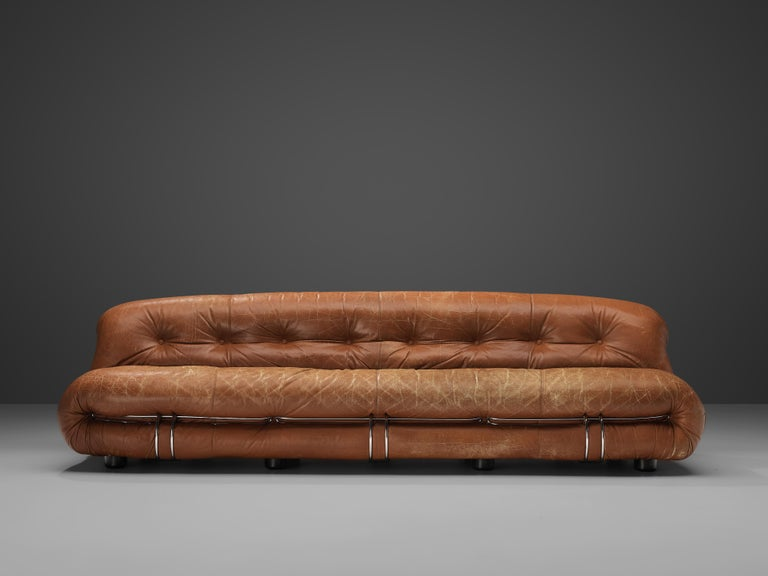 Afra & Tobia Scarpa for Cassina, 'Soriana' sofa, brown leather, metal, Italy, 1969  Iconic sofa by Italian designer couple Afra & Tobia Scarpa. The Soriana proposes a model that institutionalizes the image of the informal sitting where everything