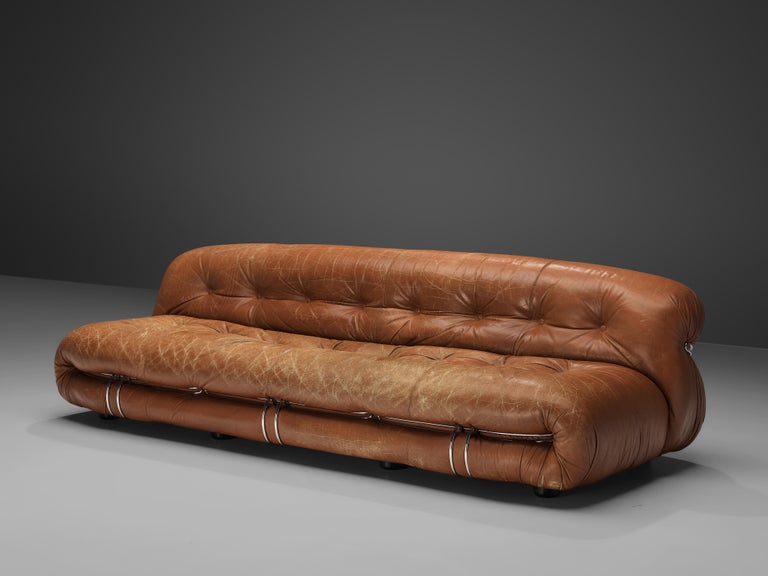 Italian Afra & Tobia Scarpa 'Soriana' Sofa in Patinated Brown Leather For Sale