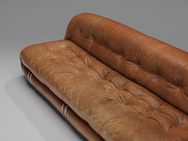Afra & Tobia Scarpa 'Soriana' Sofa in Patinated Brown Leather In Good Condition For Sale In Waalwijk, NL