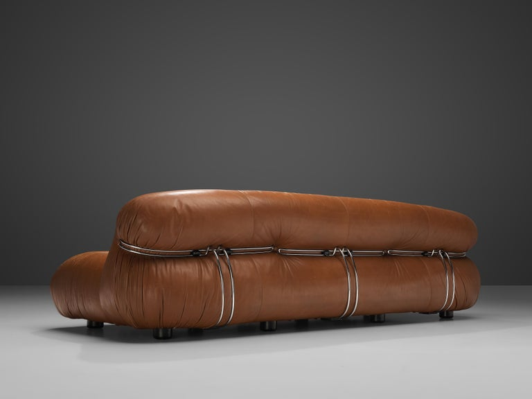 Mid-20th Century Afra & Tobia Scarpa 'Soriana' Sofa in Patinated Brown Leather For Sale