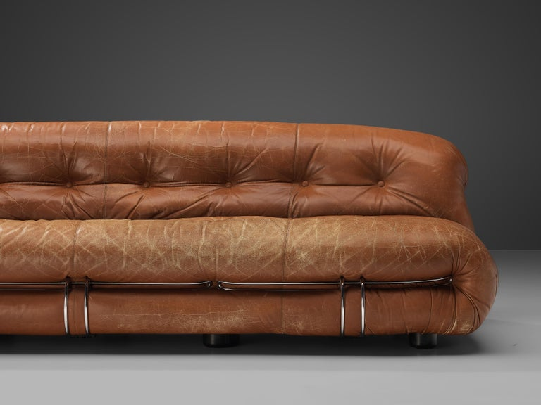 Metal Afra & Tobia Scarpa 'Soriana' Sofa in Patinated Brown Leather For Sale