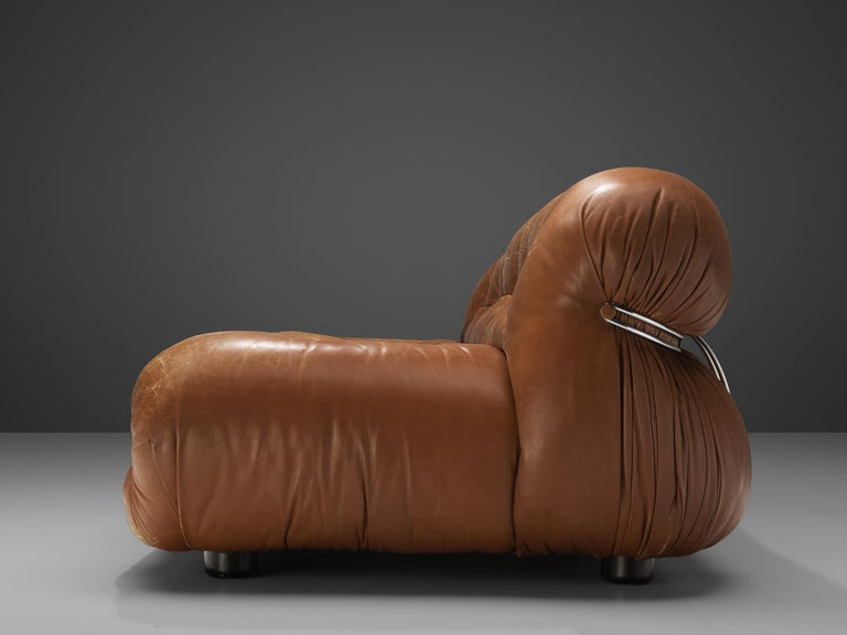 Afra & Tobia Scarpa 'Soriana' Sofa in Patinated Brown Leather For Sale 1