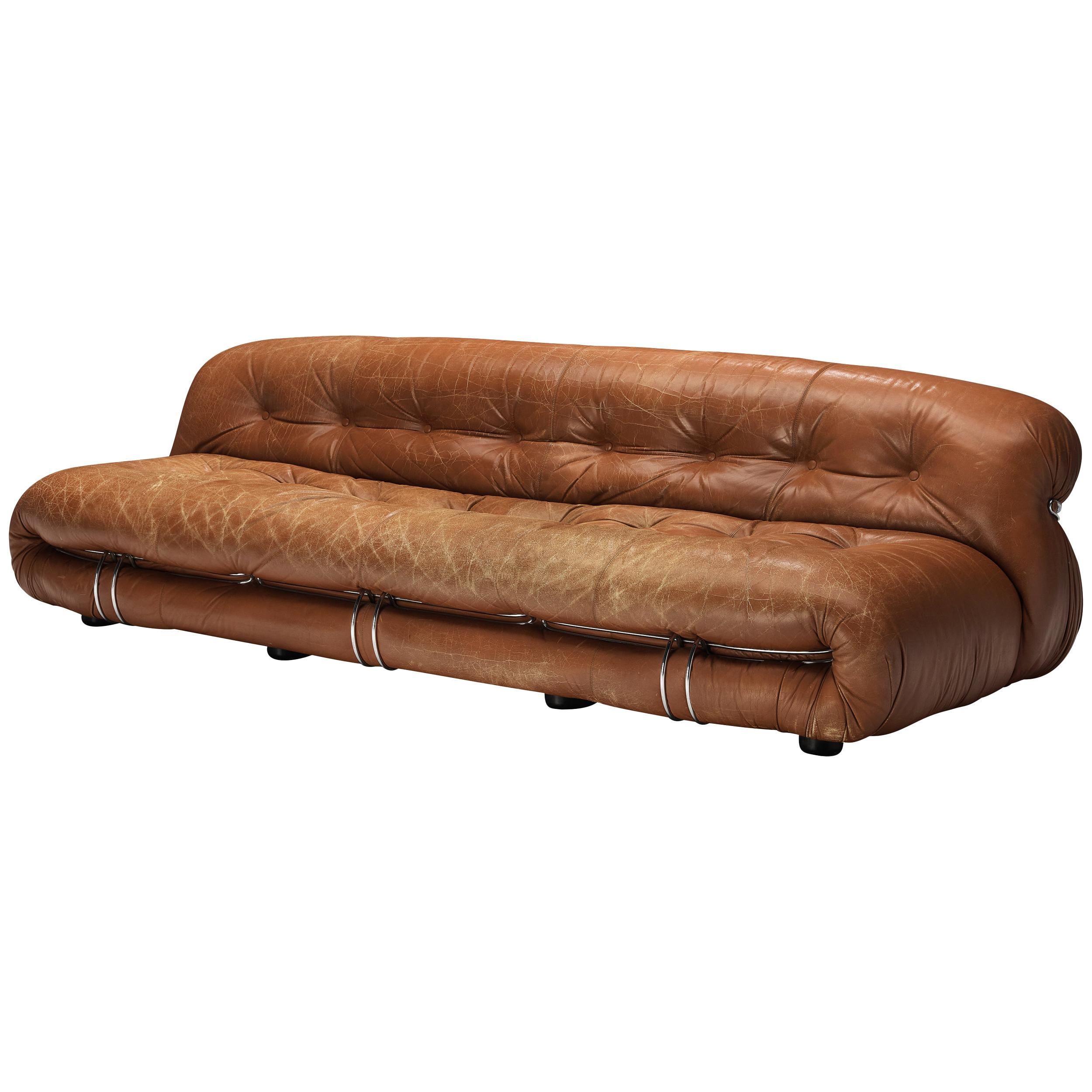 Afra & Tobia Scarpa 'Soriana' Sofa in Patinated Brown Leather