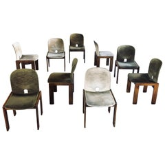 "Afra & Tobia Scarpa Velvet ""121"" Dining Chairs for Cassina, 1965, Set of Sixteen"