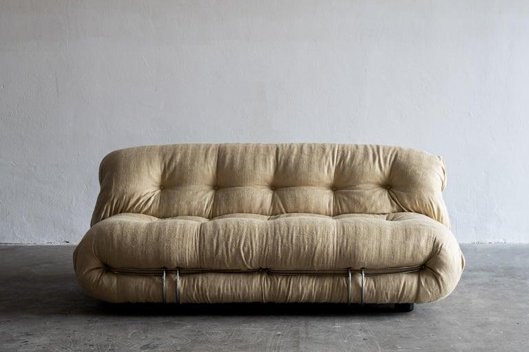 Mid-Century Modern Afra & Tobia Scarpa White Soriana Sofa for Cassina, 1970 For Sale
