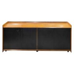 Afra&Tobia Scarpa Africa Artona Maxalto Black Leather and Wood Sideboard