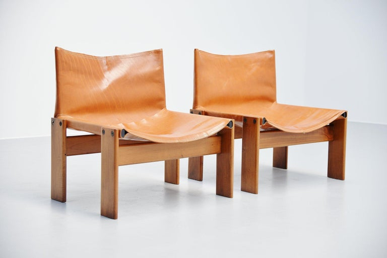 Mid-Century Modern Afre e Tobia Scarpa Monk Lounge Chairs Molteni, Italy, 1974 For Sale