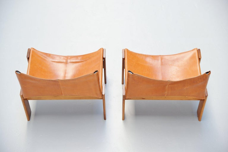 Afre e Tobia Scarpa Monk Lounge Chairs Molteni, Italy, 1974 In Good Condition For Sale In Roosendaal, Noord Brabant