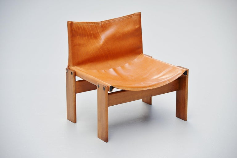 Late 20th Century Afre e Tobia Scarpa Monk Lounge Chairs Molteni, Italy, 1974 For Sale
