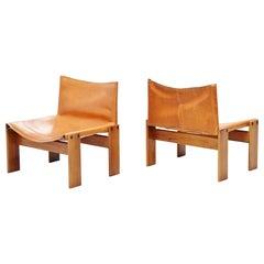 Afre e Tobia Scarpa Monk Lounge Chairs Molteni, Italy, 1974