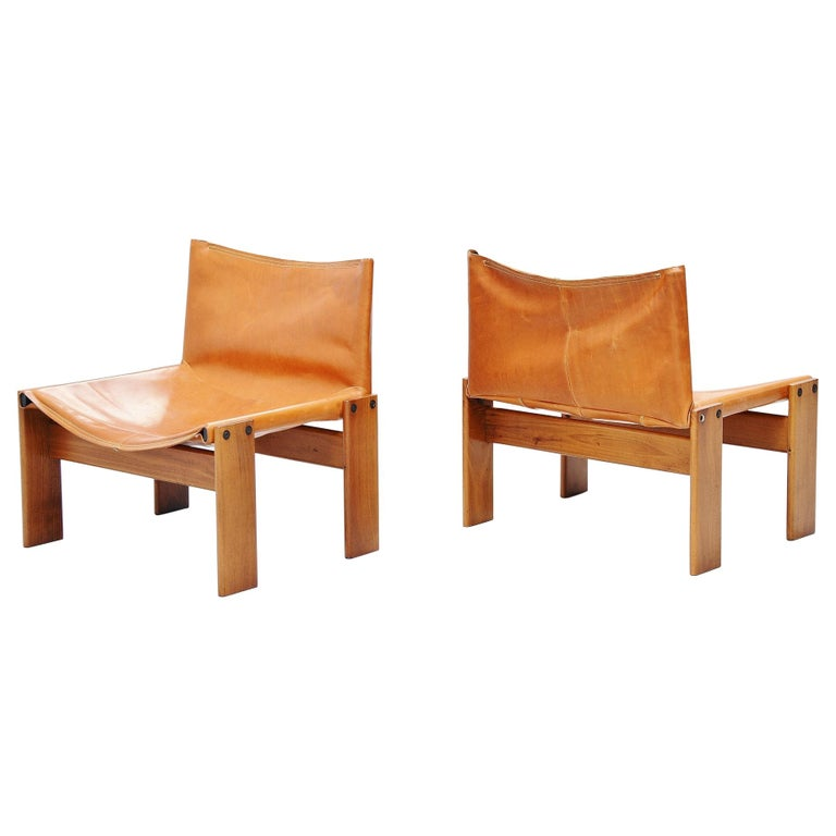 Afre e Tobia Scarpa Monk Lounge Chairs Molteni, Italy, 1974 For Sale