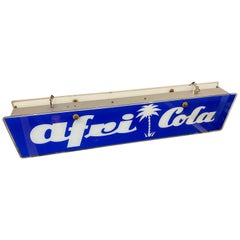 Afri Cola Illuminated Advertising, Glass Ceiling Lamp, 1950s, Sign