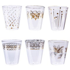 Africa Glam Set of Six Gold and Platinum Glasses