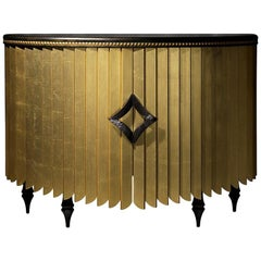 Africa Sideboard, Contemporary Semicircular Dresser in Gold or Silver Leaf
