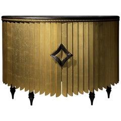 Afrika-Sideboard, zeitgenössische halbrunde Kommode in Gold oder Silber Blatt