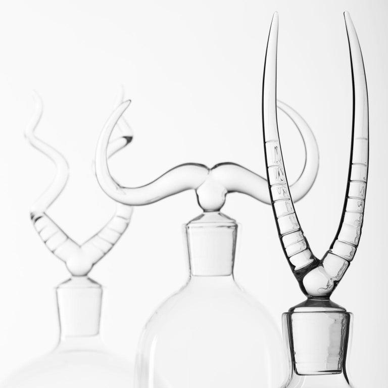 Modern 'Africa Trophy Bottle Set' Hand Blown Glass Bottles by Simone Crestani For Sale