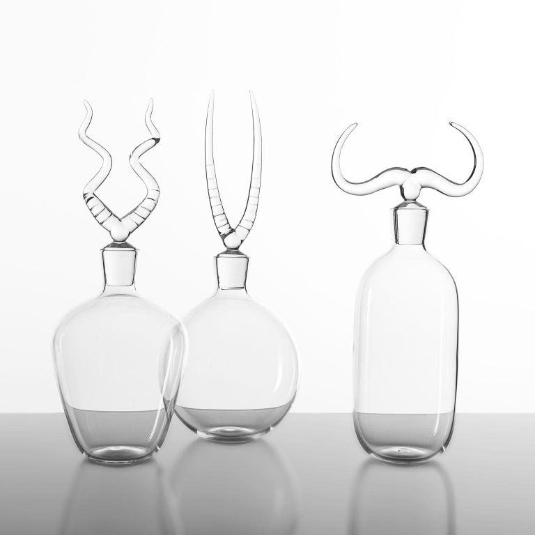Italian 'Africa Trophy Bottle Set' Hand Blown Glass Bottles by Simone Crestani For Sale