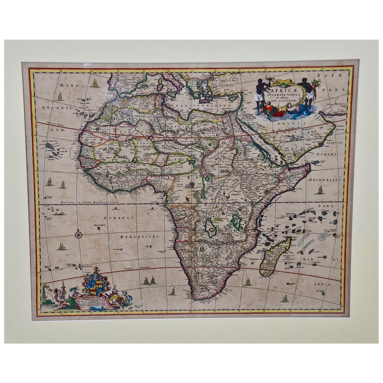 """""""Africae Accurata"""", a Hand-Colored 17th Century Map of Africa by Visscher"""