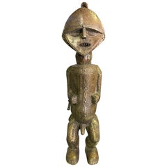 African Ambete 'Mbete' Tribe Brass Wood Carved Standing Reliquary Figure
