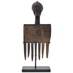 Early 20th Century African Antique Wood Comb with Human Head