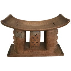 African Ashanti Stool in Hand Carved Wood, Early 20th Century