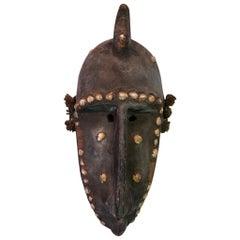 African Bambara N'tomo Society Carved Wood Mask with Shells