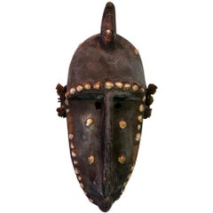 African Bambara N'tomo Society Carved Wood Mask with Shells