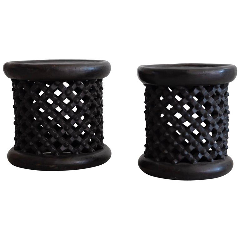 African Bamileke Spider Stools For Sale