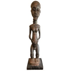 African Baule Tribe Masterfully Carved Blolo Bla Spirit World Figure on Stand