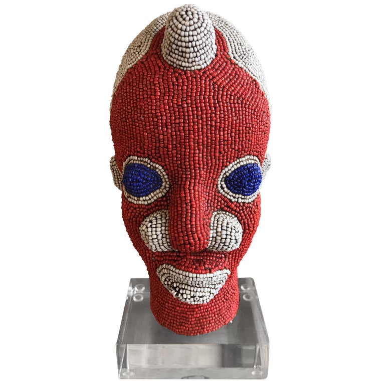 African Beaded Head from Cameroon For Sale