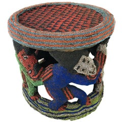 African Beaded Round Side Table