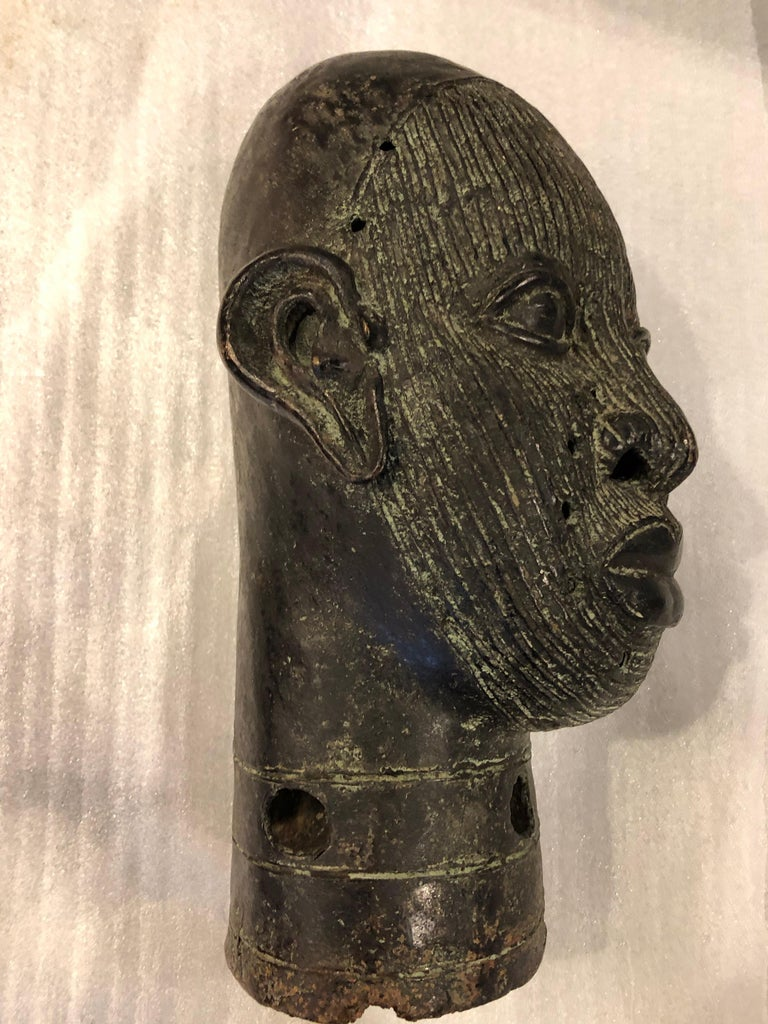 British Colonial African Benin Bronze Head For Sale