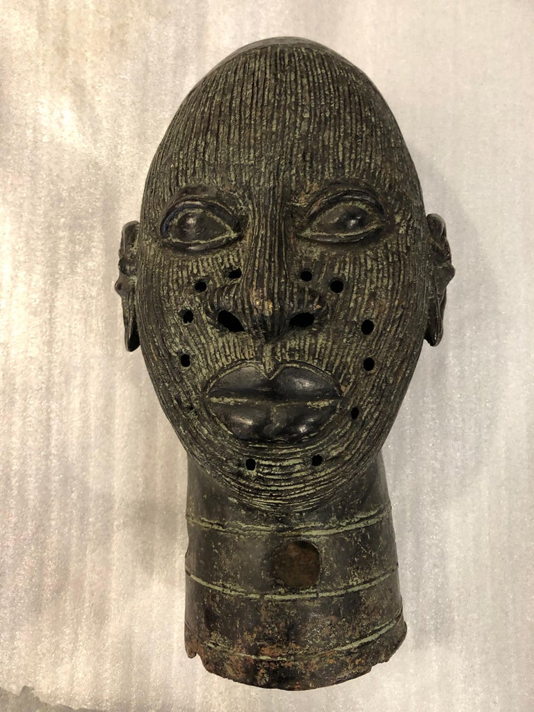 Forged African Benin Bronze Head For Sale