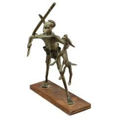 African Bronze Figure with Rifle Benin 'Dahomey' Early 20th Century African Art