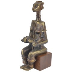 African Bronze Sculpture Signed A. Lambote Congolese School