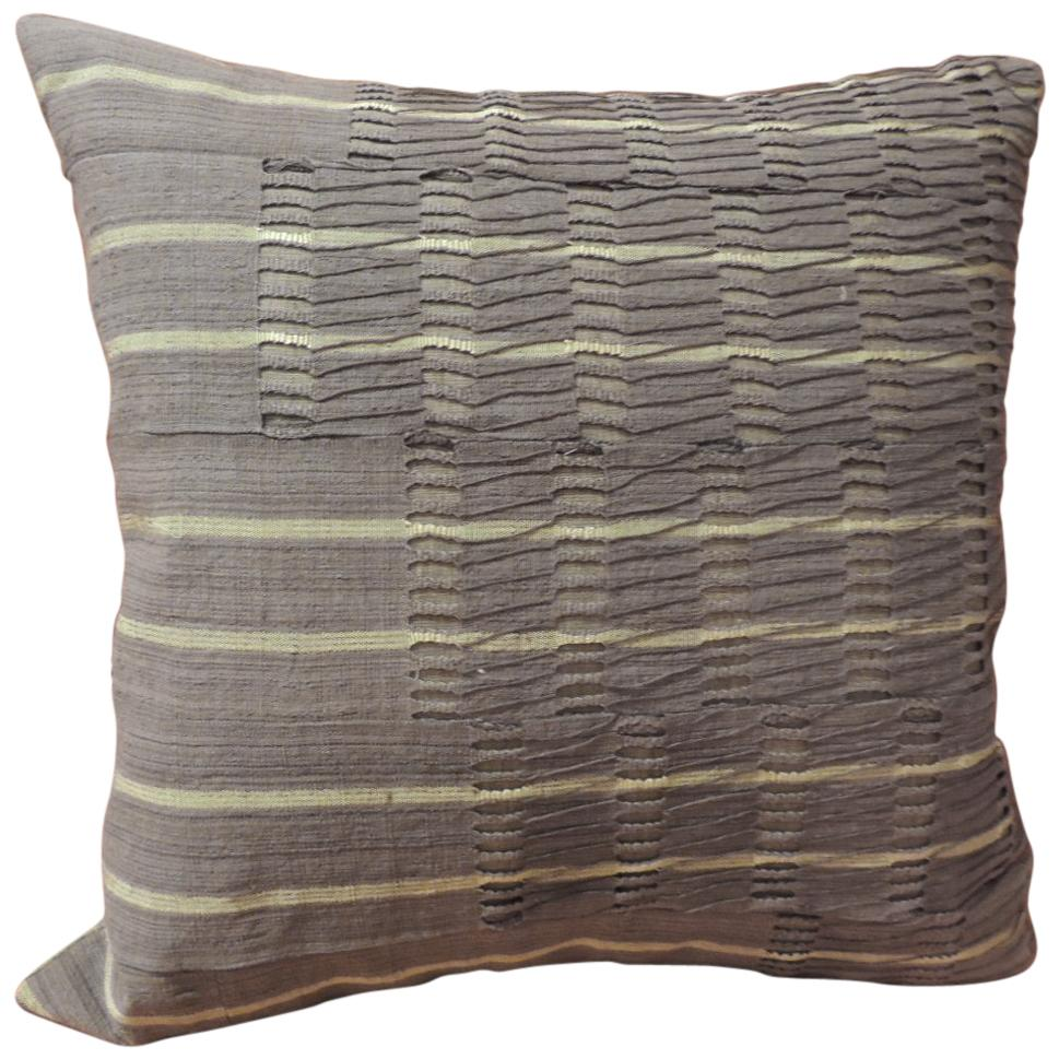 "African Brown ""Yoruba"" Lace Woven Textile Decorative Pillow"