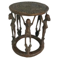African 'Cameroon' Bronze Figural Occasional/Side Table, Mid-late 20th Century