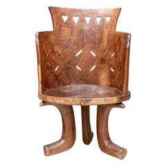 African Carved Burled Wood Throne Chair