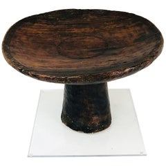 African Carved Ceremonial Wedding Stool or Table with Lucite Base