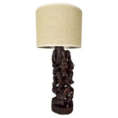 """African Carved Ebony Wood Sculpture / Lamp, """"Hunters, Buffalo and Crocodile"""""""