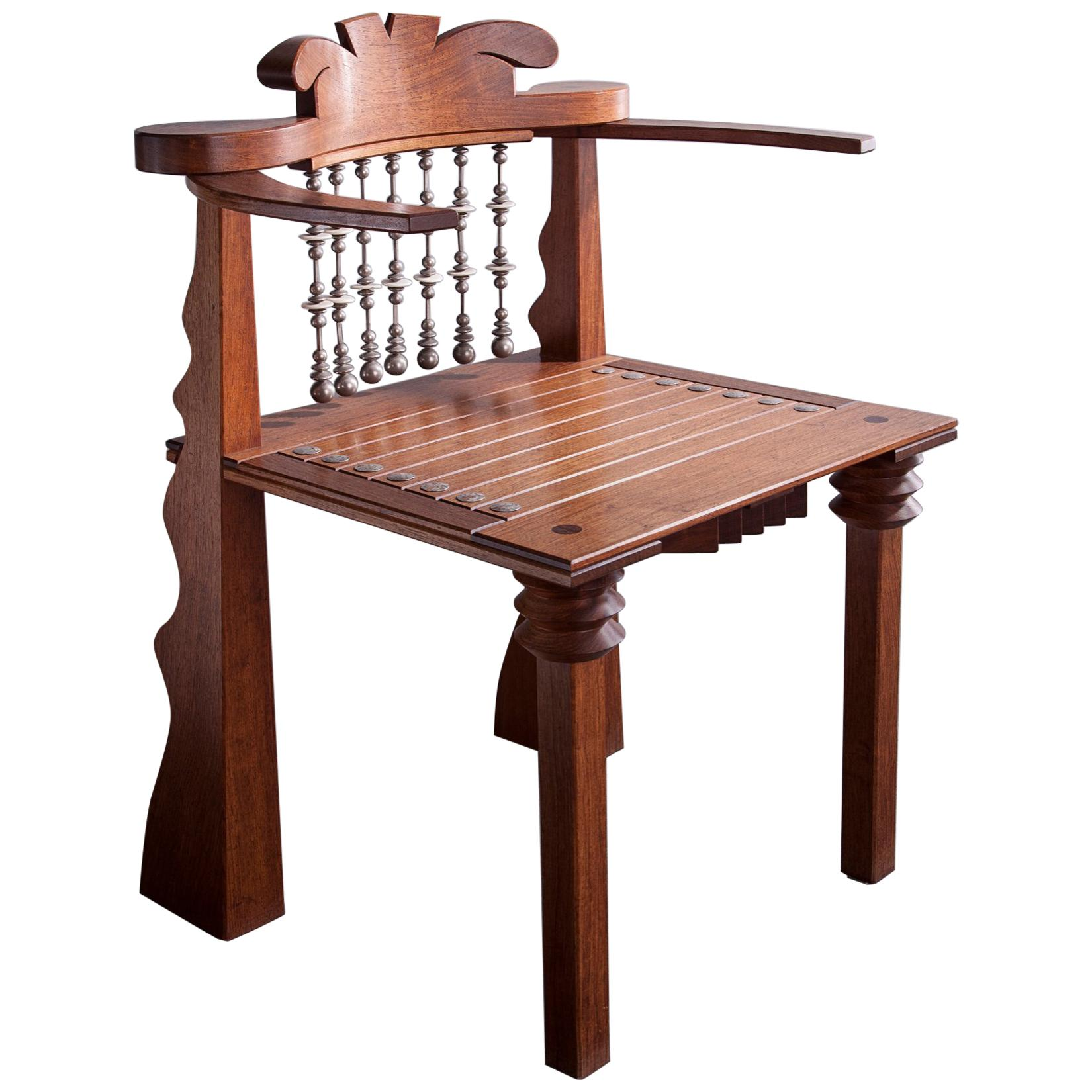 African Chair in Claro Walnut and Beads by Garry Knox Bennett, 1988