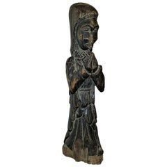 African Congolese Carved Wooden Nun