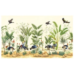 African Cranes Chinoiserie Mural