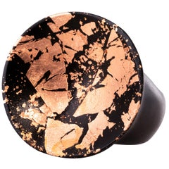 African Ebony Copper Leaf Round Ring