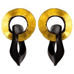 African Ebony Double Circle Dangling Earrings
