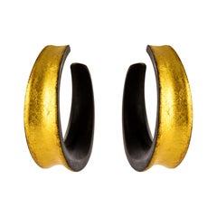 African Ebony Gold Leaf Convex Hoops Earrings