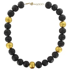 African Ebony Gold Leaf Faceted Pearl Necklace