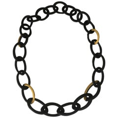 African Ebony Gold Leaf Oval Mesh Long Necklace